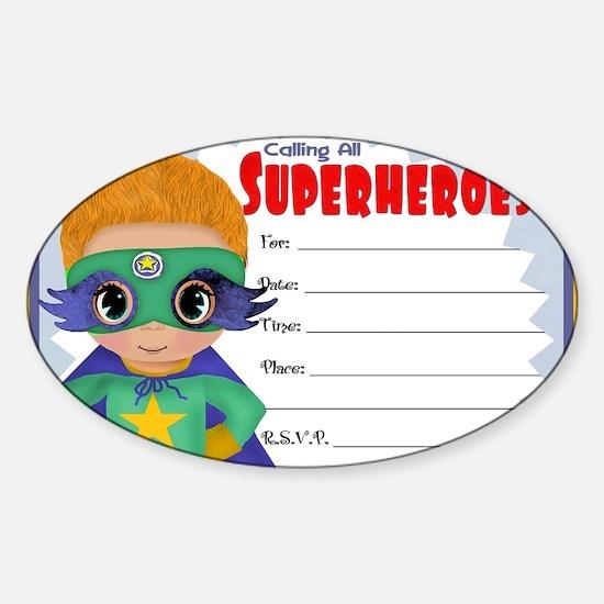 Blond Hair Superhero Sticker (Oval)