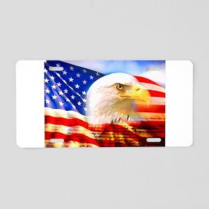American Bald Eagle Collage Aluminum License Plate