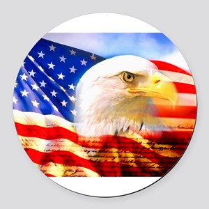 American Bald Eagle Collage Round Car Magnet