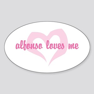 """""""Alfonso Loves Me"""" Oval Sticker"""