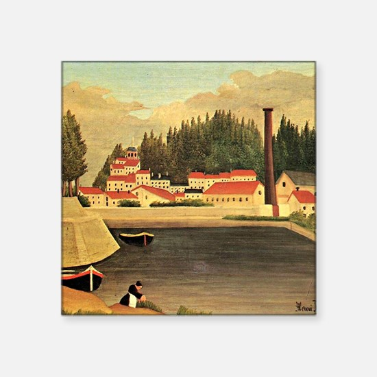 "Henri Rousseau: Village Nea Square Sticker 3"" x 3"""