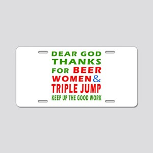 Beer Women and Triple Jump Aluminum License Plate