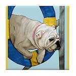 Bulldog Agility Design Tile Coaster