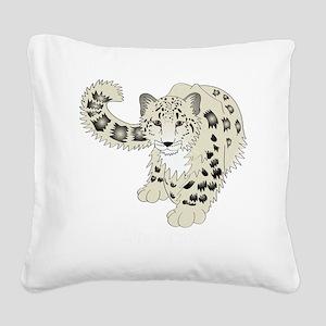snowleoparddark Square Canvas Pillow