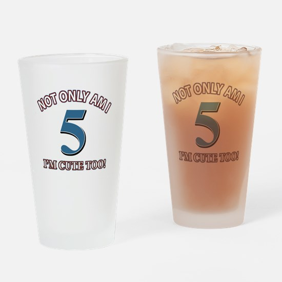 5 year old birthday designs Drinking Glass