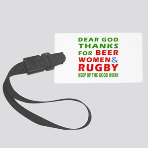 Beer Women and Rugby Large Luggage Tag