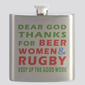 Beer Women and Rugby Flask