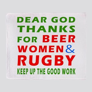 Beer Women and Rugby Throw Blanket