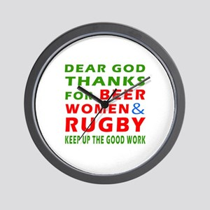Beer Women and Rugby Wall Clock