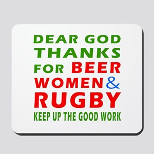 Beer Women and Rugby Mousepad