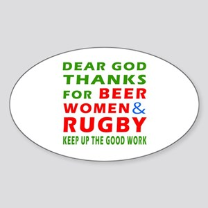 Beer Women and Rugby Sticker (Oval)
