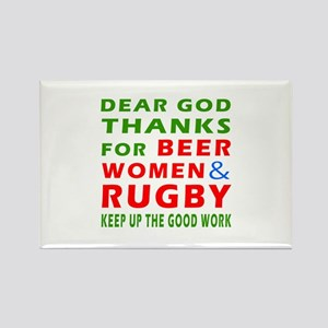 Beer Women and Rugby Rectangle Magnet