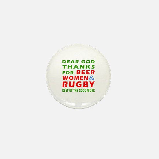 Beer Women and Rugby Mini Button