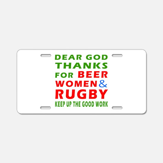 Beer Women and Rugby Aluminum License Plate