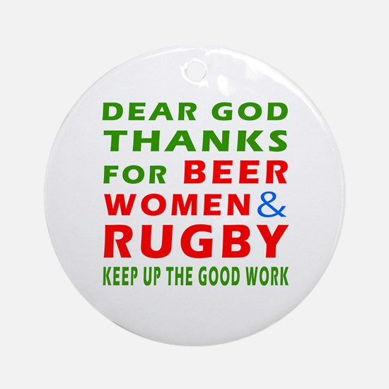 Beer Women and Rugby Ornament (Round)