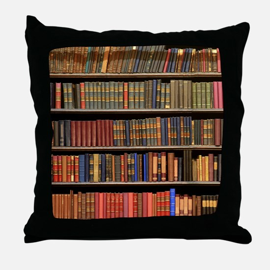Old Books on Library Shelf Throw Pillow