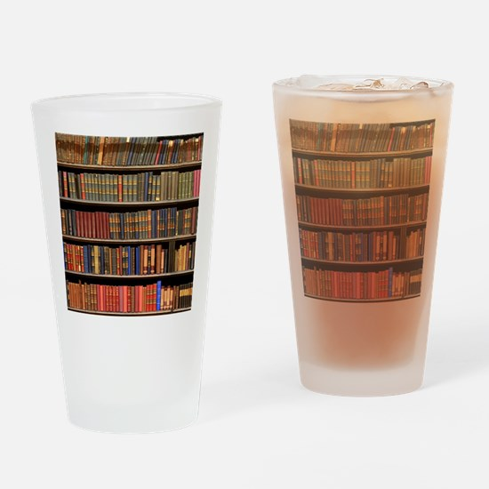 Old Books on Library Shelf Drinking Glass