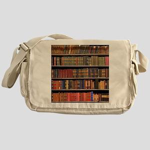 Old Books on Library Shelf Messenger Bag