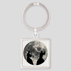 Samurai Moon Square Keychain