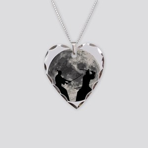 Samurai Moon Necklace Heart Charm