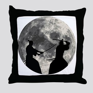 Samurai Moon Throw Pillow