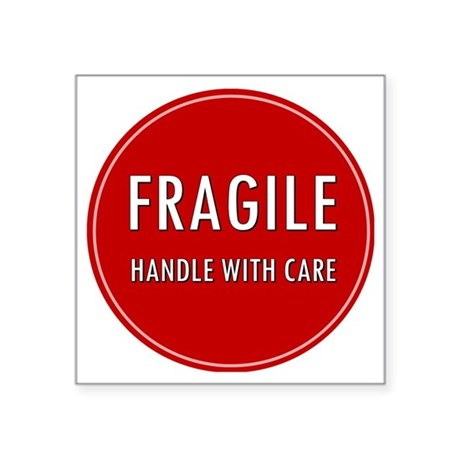 Fragile handle with care square sticker 3 x 3