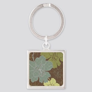 Blue Brown Hibiscus Square Keychain