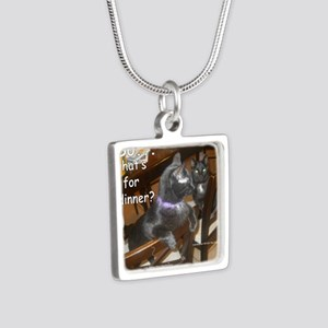 WhatDinnerAudreyStar Silver Square Necklace