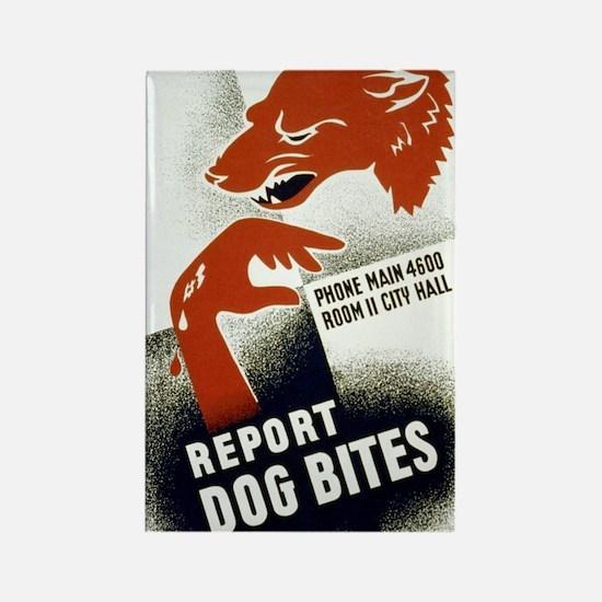 Retro Report Dog Bites Rectangle Magnet