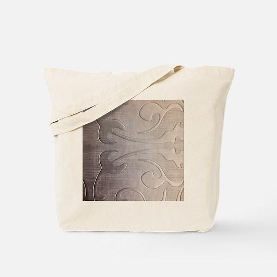 pearl grey damask pattern Tote Bag