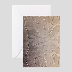 pearl grey damask pattern Greeting Card