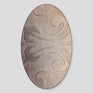 pearl grey damask pattern Sticker (Oval)