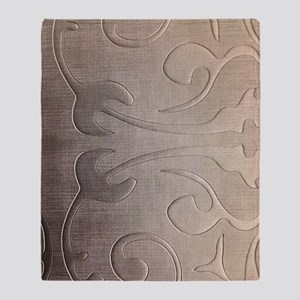 pearl grey damask pattern Throw Blanket
