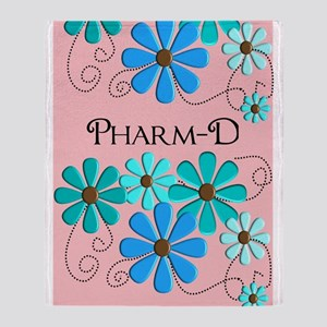 PharmD retro Flowers 2 Throw Blanket