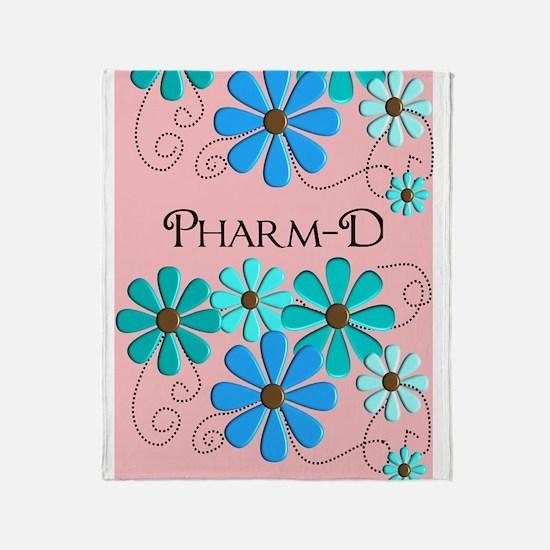 PharmD retro Flowers 2 Throw Blanket