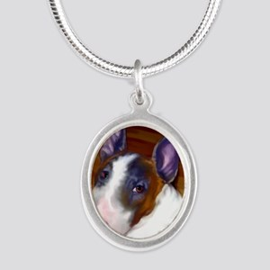 bullterrier-sq Silver Oval Necklace