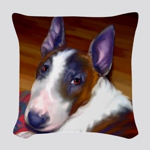 bullterrier-sq Woven Throw Pillow