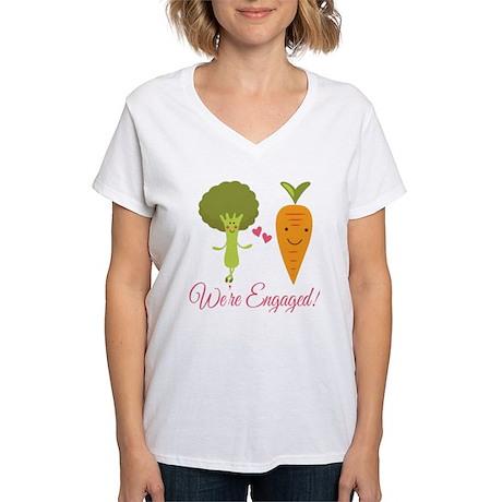 We're Engaged Veggie Couple Women's V-Neck T-Shirt