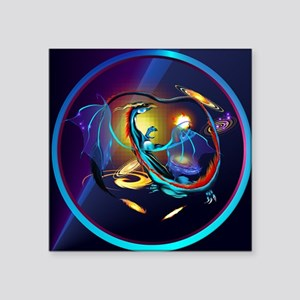"Blue Galaxy Dragon-circle Square Sticker 3"" x 3"""