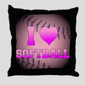 ilovesoftball_pink Throw Pillow