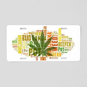 Cannabis Word Art Aluminum License Plate