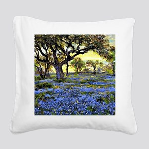 Old Live Oak Tree and Bluebon Square Canvas Pillow