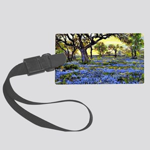 Old Live Oak Tree and Bluebonnet Large Luggage Tag