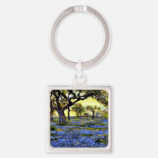 Old Live Oak Tree and Bluebonnets Square Keychain