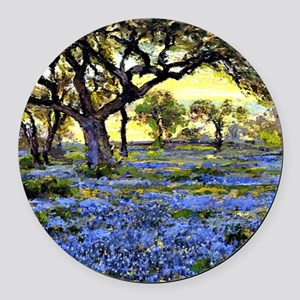Old Live Oak Tree and Bluebonnets Round Car Magnet