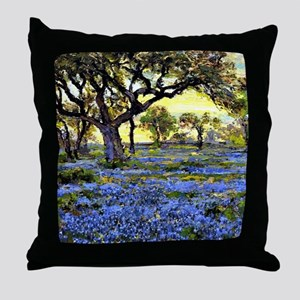 Old Live Oak Tree and Bluebonnets Throw Pillow