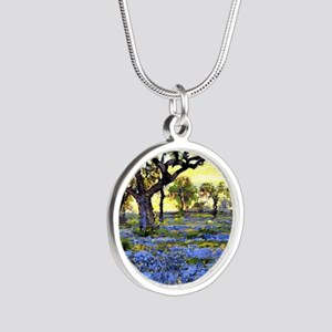 Old Live Oak Tree and Bluebo Silver Round Necklace