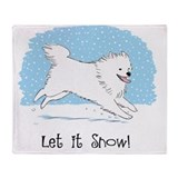 American eskimo snow Fleece Blankets