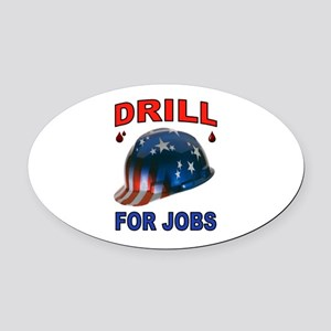 DRILLER HAT Oval Car Magnet