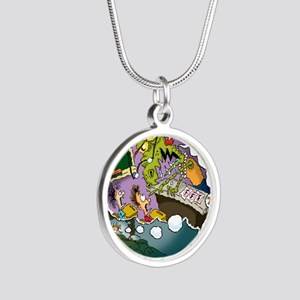 The Nightmare Before Class-m Silver Round Necklace